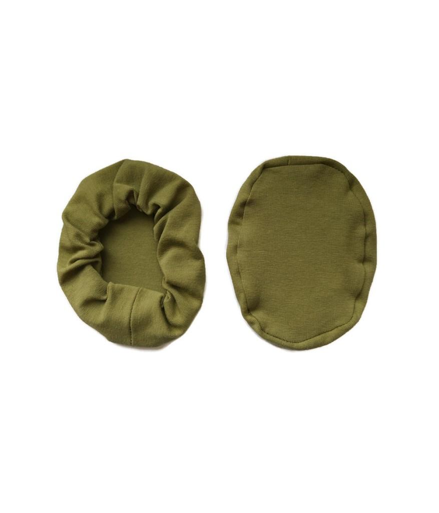 nakladki materialowe bawelniane na sluchawki lotnicze oliwkowe zielone
