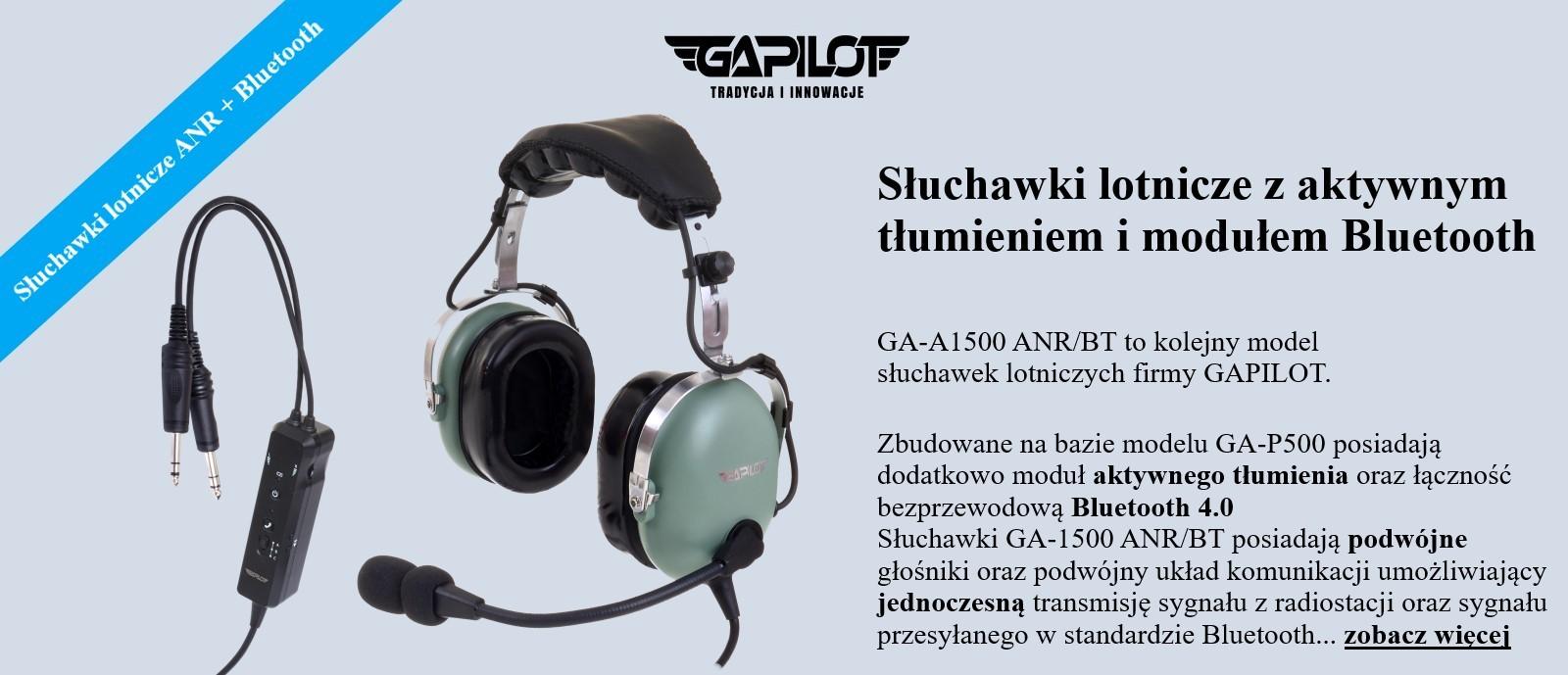 SLUCHAWKI LOTNICZE GA-1500 ZIELONE ANR BT